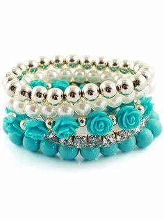 Blue Gold Multilayer Bead Flower Bracelet