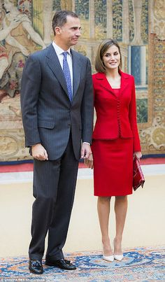 Royals & Fashion - King Felipe and Queen Letizia attended a working meeting and a lunch with representatives Cervantes Institute, at the Pardo Palace in Madrid.