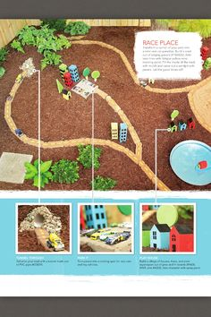 Outdoor car track and town - dirt, cardboard houses, pavers, etc.