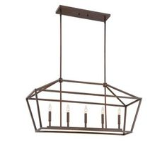 """View the Millennium Lighting 3245 5 Light 40"""" Length Linear Chandelier with Open Frame Cage and Candle Style Lights at Build.com."""