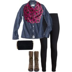 A fashion look from August 2014 featuring america shirts, STELLA McCARTNEY and suede boots. Browse and shop related looks. Infinity Scarf Outfits, Suede Boots, Stella Mccartney, Feathers, What To Wear, Fashion Inspiration, Fashion Looks, Denim, Purple