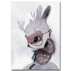 Cartoon Watercolor Minimalist Wall Art Canvas Painting Nursery Bandits