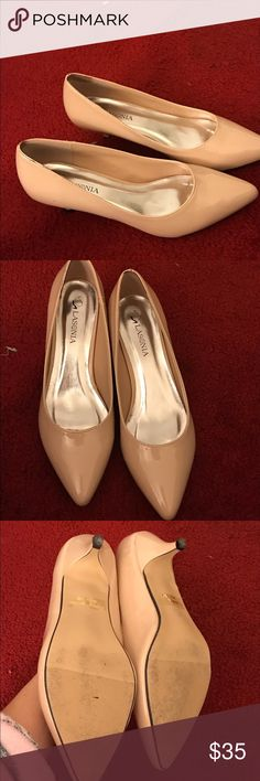 Nude kitten heels Low heel, perfect for work, worn a few times and some light scuffing Shoes Heels