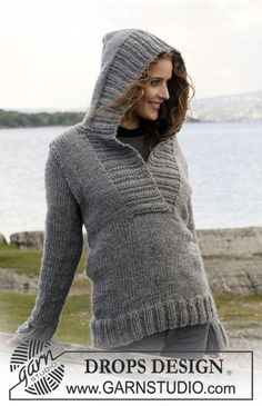 "Knitted DROPS Jumper with hood in ""Eskimo"". Size S - XXXL. ~ DROPS Design"