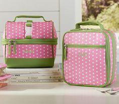 Mackenzie Pink Dot Lunch Bags #westelm    Sophia for Moog