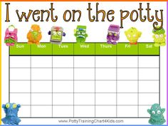 """""""I went on the potty"""" reward chart. Click here to download 40 printable potty training charts for free."""