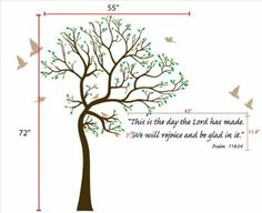 6ft Tree Brown & Green with Bird Wall Decal + Bible Verse Lettering Deco Art Sticker Mural - This Decal is Created By Digiflare Graphics, Or...