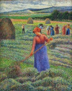 Camille Pissarro 1830 - 1903  Haymakers at Eragny, 1889.