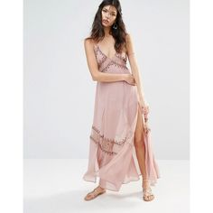 The Jetset Diaries Las Perlas Embroidered Slip Dress (£245) ❤ liked on Polyvore featuring dresses, pink, mini dress, beaded chiffon dress, pink beaded dress, pink dress and chiffon mini dress
