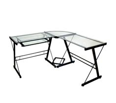 L-Shaped Glass Corner Computer Desk - Black/Clear