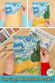 Learn art history while creating a Vincent Van Gogh-inspired Wheatfield with Cypresses artwork. Fill up your art sub plan folder with no-prep art proj. Vincent Van Gogh, Van Gogh For Kids, Art For Kids, Britto Disney, Deco Miami, Fantasy Angel, Art Sub Plans, Van Gogh Art, Art Van