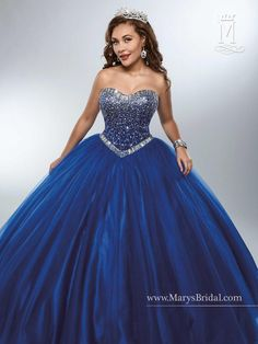 Look and feel beautiful in a Mary's Bridal Beloving Collection Quinceanera Dress Style 4684 at your Sweet 15 party or at any formal event. Tulle quinceanera ball gown with strapless sweetheart necklin Sweet 16 Dresses, 15 Dresses, Ball Dresses, Dresses For Sale, Cute Dresses, Beautiful Dresses, Pretty Quinceanera Dresses, Mary's Bridal, Blue Ball Gowns