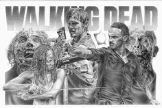 Walking Dead Original Sketch Prints - Poster Size - Black & White - Print of Highly-Detailed, Handmade Drawing By Artist Mike Duran   http://citymoonart.com/walking-dead-original-sketch-prints-poster-size-black-white-print-of-highly-detailed-handmade-drawing-by-artist-mike-duran/