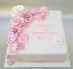 birthday cake with pink gumpaste flowers Geburtstagstorte mit rosa Gumpaste Blumen Square Birthday Cake, Birthday Cake For Mom, Birthday Sheet Cakes, Birthday Cake With Flowers, Birthday Cakes For Women, Birthday Woman, 80th Birthday, Cake Flowers, Fondant Flowers