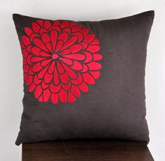 Red flock flower - Throw Pillow Cover x Decorative Pillow Cover - Dark Brown linen with Red floral Embroidery Red Throw Pillows, Linen Pillows, Couch Pillows, Throw Pillow Covers, Rustic Decorative Pillows, Decorative Pillow Covers, Living Room Decor Pillows, Home Goods Decor, Cute Kittens