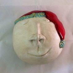 Ceramic Snow Ball with Santa hat by MuddyRiverClay on Etsy