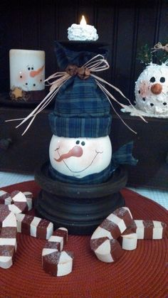 Painted snowman from a. Dollar store wine glass turned upside down.