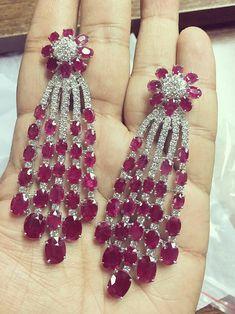 Welcome 2 World Boutiques — High Jewelry Ruby and Diamond Earrings by Gemville. Ruby Jewelry, Ruby Earrings, High Jewelry, Jewellery, Stone Earrings, Diamond Earrings Indian, Diamond Mangalsutra, Pendant Earrings, Hoop Earrings