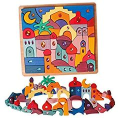 Grimm's Sparkling Morning Glory Wooden Play Set - Eastern Lands (Orient) Building Block Puzzle: Toys & Games Grimm's Toys, Kids Toys, Wooden Playset, Wooden Toys, Thing 1, Presents For Kids, Unusual Gifts, Puzzle Toys, Building