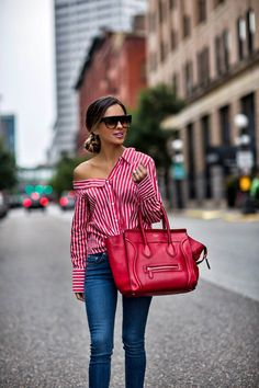 off-the-shoulder red striped button down