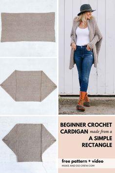 One Skein Crochet, Crochet Cardigan Pattern, Single Crochet Stitch, Crochet Jacket, Crochet Shawl, Poncho Pattern Sewing, Knitting Patterns, Crotchet, Make And Do Crew