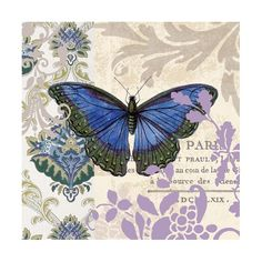 Items similar to Single (one) ''Vintage Papillon'' paper napkin for Decoupage or collectibles Butterfly napkins, Serviettes de papel on Etsy Papel Vintage, Vintage Cards, Vintage Paper, Vintage Images, Vintage Posters, French Vintage, Vintage Butterfly, Butterfly Flowers, Beautiful Butterflies