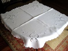 old linen tablecloths | TABLECLOTH vintage Crisp LINEN Embroidered Broderie Anglais Cut ...