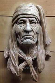 Wood Carving Faces, Dremel Wood Carving, Wood Carving Designs, Wood Carving Patterns, Wood Carving Art, Human Sculpture, Wood Sculpture, American Indian Art, Native American Art