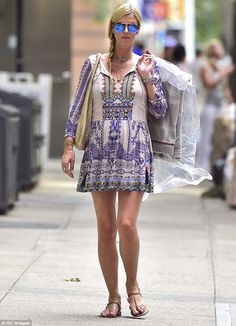Getting ready: The heavily-pregnant socialite flashed her perfect pins around the Big Apple as she ran errands