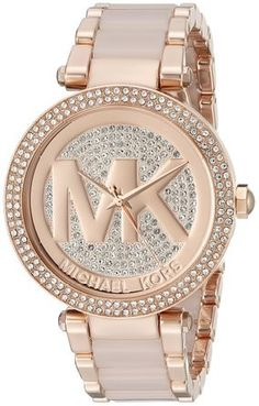 997226052334 Michael Kors MK6176 Parker Crystal Pave Logo Dial Rose Gold-tone Ladies  Watch Stainless Steel