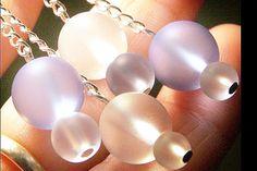 Frosted Glass Beaded Earrings  Sea Foam Series by KapKaDesign, $31.00