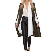 Women Fashion Cardigan Trench Cloak Sleeveless Maxi Polyester Coat  Z301