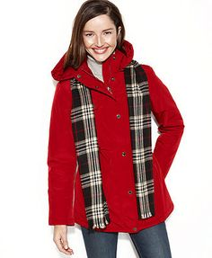 London Fog Coat, Hooded Puffer Anorak with Plaid Scarf