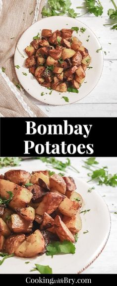 Bombay Potatoes Recipe - deliciously spiced golden potatoes fried in ghee, cumin, mustard and coriander. This tasty potato recipe is a great side dish to serve with dinner during the week or on the weekend! Not too spicy but packed with flavour, this is a great potato recipe to add something new to dinner. Potato Dishes Easy, Tasty Potato Recipes, Cauliflower Recipes, Side Dish Recipes, Easy Healthy Recipes, Great Recipes, Side Dishes, Dinner Recipes, Easy Meals