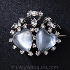 Moonstone and diamond brooch, ca. 1850 | In the Swan's Shadow