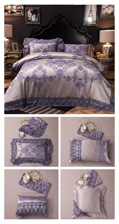 Visit ProminentEmporium.com to check out the collection of the best Luxury Bedding Set. Like this amazing bedding set with Satin Silk fabric and beautiful design patterns on the Duvet Cover and Pillowcases and Luxury Lace Design to make the best of your bed. This Luxury Bedding Set with 10 Pieces Set will help you create a more beautiful bedroom decor and help you decorate your room around it. #luxury #bedding #luxurybedding #luxurybedroom #luxuryhome #luxurybed