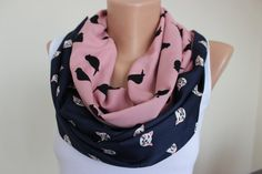 Cat and Bird Print Reversible ScarvesPink Black Blue by ScarfAngel