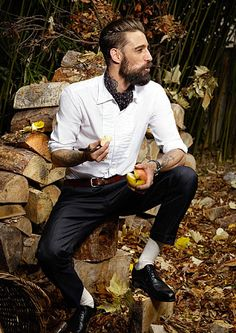 Hipster Debonair. Why I'd love some apple and your neckerchief, thank you.  Is it too much to ask for a rugged looking guy who dresses well? This is essentially my type.