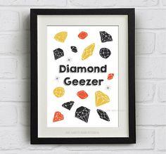 "Fun quotes Print ""Diamond Geezer""  Downloadable Art Print. Cute retro, pop art, cockney slang"