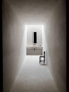 Salvatori - Wall mounted marble basin Alfeo - Archimede mirror - Ciane modular drawers