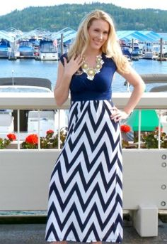 Colorblock Navy and White Chevron Maxi Dress