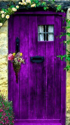 Purple Door - All About Balcony Purple Front Doors, Purple Door, Cool Doors, Unique Doors, Door Knockers, Door Knobs, Front Door Design, Garden Doors, Painted Doors