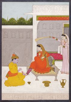 """1800 - 10 Kangra School  - Svadhinapatika is the heroine whose lover is fully devoted to her ... She exudes confidence at seeing the completely subdued and docile Krishna. .. Radha's companion reminds her: """"And you, only a mean little cow-girl, have your feet cleaned by him and he, the Lord of the Universe, is constantly clinging to you like your shadow.... He takes care of your pettiest affairs, and protects you like betel-leaves kept in the basket ... """" Mughal Miniature Paintings, Mughal Paintings, Indian Art Paintings, Abstract Paintings, Oil Paintings, Indian Traditional Paintings, Traditional Art, India Painting, Painting Art"""