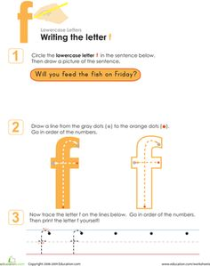 Preschool Kindergarten Letters Fine Motor Skills Handwriting Worksheets: Writing the Letter f