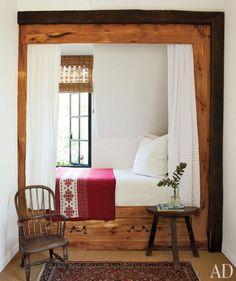 love the natural wood framing this nook