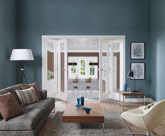 White Freefold System with Pattern 10 Glazed Doors