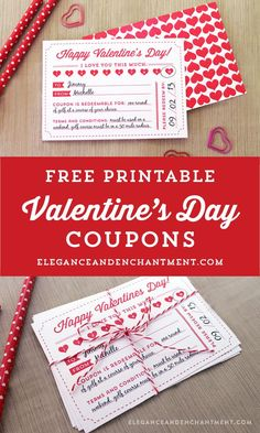 Free Printable Valentine's Day Coupons from Elegance & Enchantment // includes optional backer