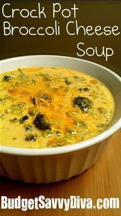 Made-super easy as throw everything together frozen. added some chicken broth for flavor. very good!!  Crock Pot Broccoli Cheese Soup - 32 oz frozen broccoli, 2 can cheddar chz soup, 2 can evaporated milk, garlic powder, onion powder, 1 tbsp butter, pepper. can also do onions and garlic chopped. throw it all in cp and let it cook. add some chicken broth to taste.