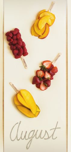 The shape of summer flavors — Outshine Raspberry, Peach, Strawberry and Mango bars!