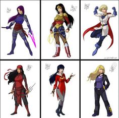 I love these! Super heroines costumes are really revealing these days and the wonder woman, elektra and psylocke costumes are amazing!